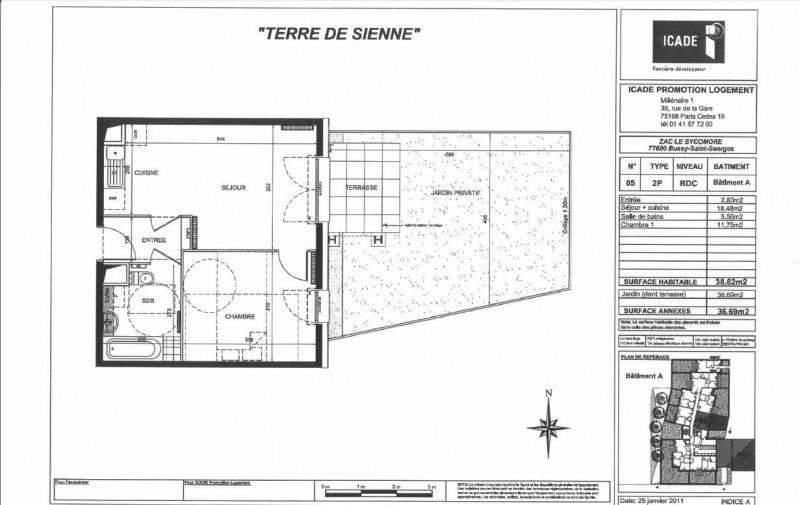 Rental apartment Bussy-saint-georges 781€ CC - Picture 1