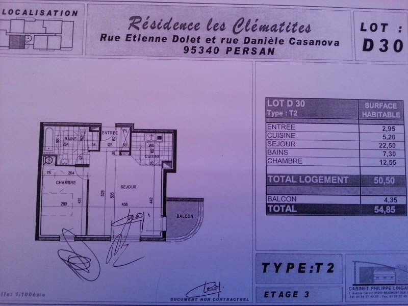 Rental apartment Persan 750€ CC - Picture 3