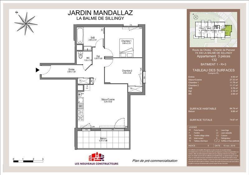 Vente appartement Balme de sillingy 285000€ - Photo 1