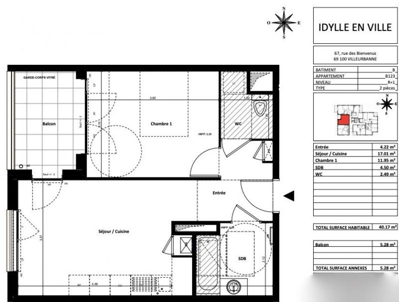 Sale apartment Villeurbanne 224000€ - Picture 2