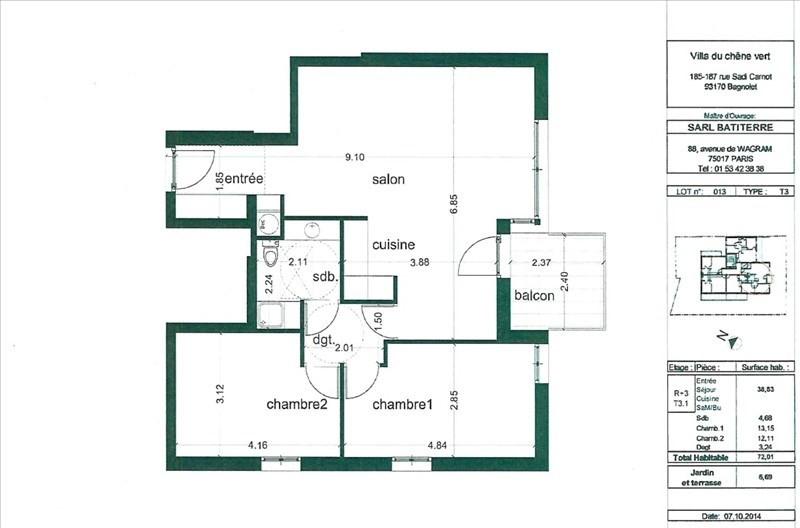 Vente appartement Bagnolet 348000€ - Photo 1