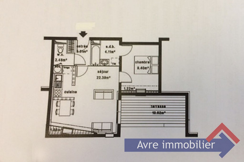 Vente appartement Verneuil d'avre et d'iton 69 500€ - Photo 2