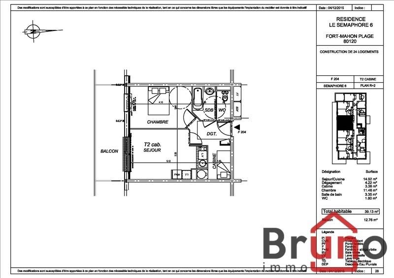 Venta  apartamento Fort mahon plage 165000€ - Fotografía 1