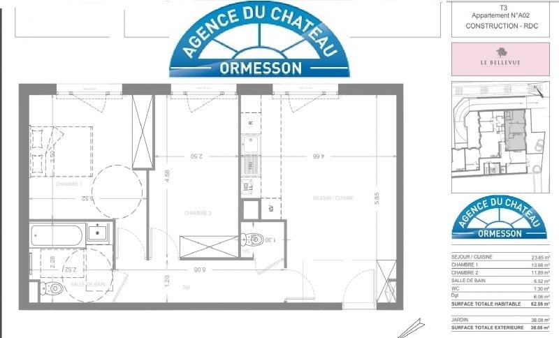 Vente de prestige appartement Ormesson sur marne 260000€ - Photo 2