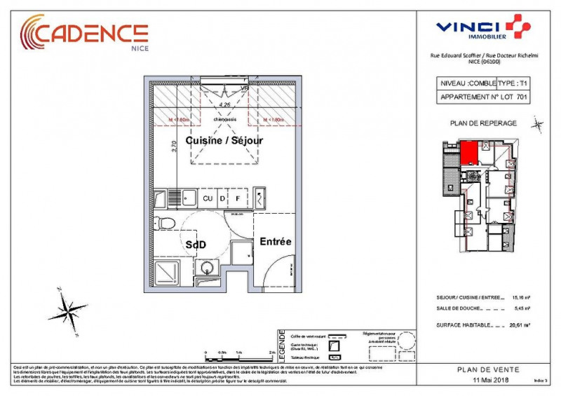 Vendita appartamento Nice 158000€ - Fotografia 3